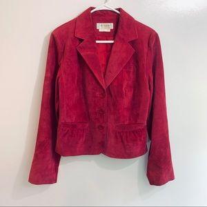 Deep Pink Genuine Leather Peplum Blazer Jacket 10